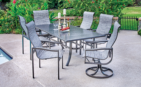 belvedere sling dining and table
